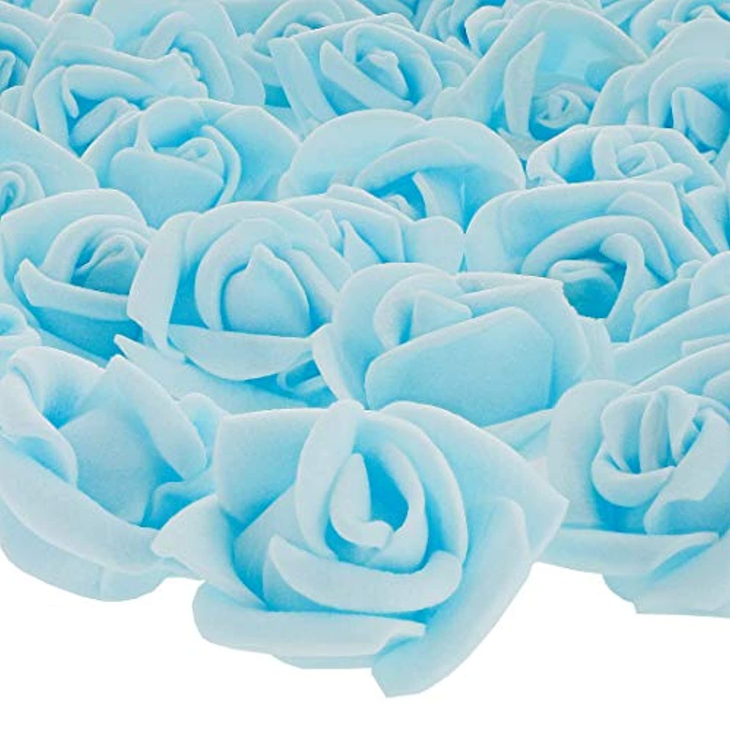 Bright Creations 200-Pack Light Blue Rose Flower Heads for DIY Crafts, Weddings, Decor, 3 x 2.5 Centimeters
