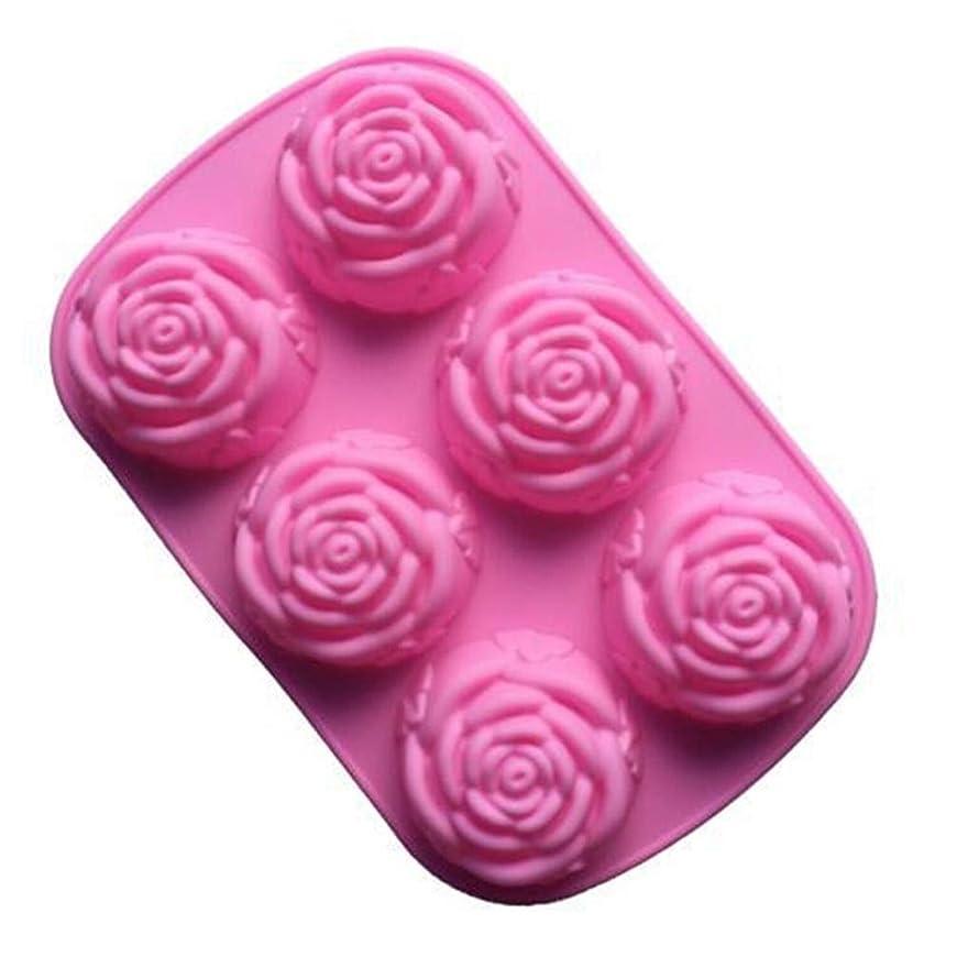 居眠りするファン枠Toporchid 6バラの花シリコーンケーキ型アイスクリームチョコレート型石鹸シリコーン型3Dカップケーキ耐熱皿ベーキング皿ケーキパン