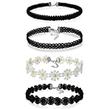 JewelryWe Joyería Gargantilla Negra Terciopelo, Collares para Mujer Jóven, Choker Margarita Blanca Sweet Girl, Tatuaje Collar Negro Juego de 4 Piezas