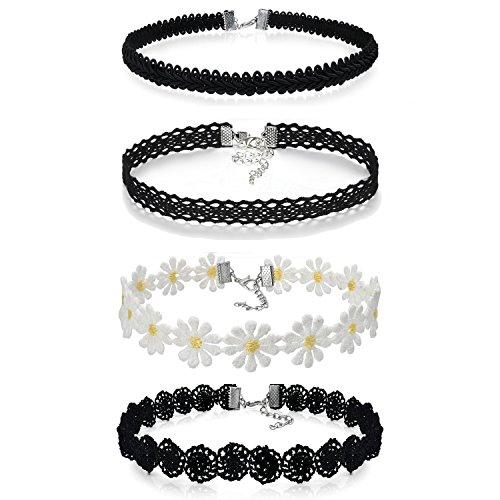 JewelryWe Schmuck 4 Stück Damen Hoker Halskette Set Gothic Tattoo Spitze Choker Ketten Stretch Samt Classic Weiss kleine Daisy Halsband, schwarz, Schwarz
