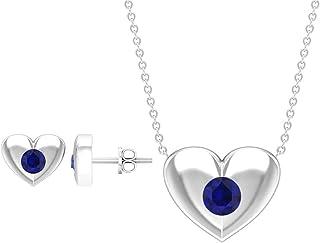 3/4 CT Blue Sapphire Jewelry Set, Gold Pendant Earrings Set (4 MM Round Shaped Blue Sapphire)