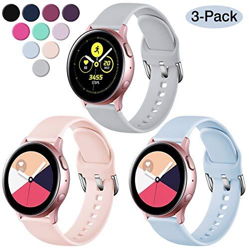 Vobafe 3 Stück Armband Kompatibel mit Samsung Galaxy Watch Active/Active 2 (40mm/44mm), Weiches Silikon Armbänder Ersatzarmband für Gear S2 Classic/Gear Sport, S Rosa/Hell Blau/Grau