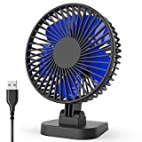USB Desk Fan, Small but Powerful, Quiet Portable Fan for Desktop Office Table, 40° Tilting, 3 Speeds, 4.9 ft Cord, 4 Inch