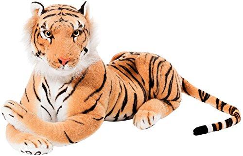 BRUBAKER Peluche Tigre 75 cm Juguete Suave - Acostado Juguetes de Peluche - Marrón
