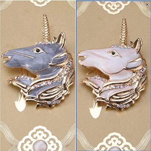 AOLIAY - Juego de 2 broches de caballo con cuerno, insignia personalizada para parejas,...