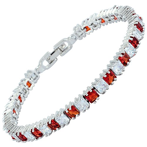 RIVA Eiswürfel Tennis Armband [18cm/7inch] mit Prinzessschliff Edelstein Zirkonia CZ [Rot Rubin] in 18K Weißgold Vergoldet, Einfache Moderne Eleganz