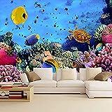 Fondos de pantalla 3D Gran Mundo Submarino Mural Vida Marina Coral mar profundo Peces Tema Acuario F Pared Pintado Papel tapiz 3D Decoración dormitorio Fotomural sala sofá pared mural-200cm×140cm