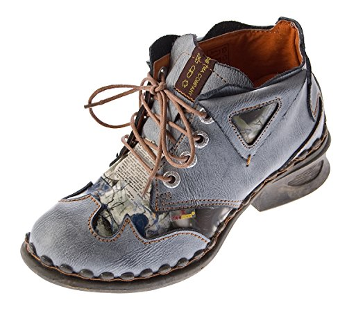 TMA TMA Damen Leder Comfort Knöchel Schuhe 5155 Halb Schuhe Schwarz-Grau Blockabsatz Boots Gr. 37