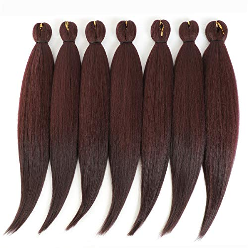 24 '' Pre-stretched Braiding Hair Original Kanekalon Braid Hair Extensions Yaki Texture Crochet Twist Hair Braids without Irritation 7 bundles (99J#)