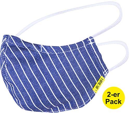 2-er Pack JOB-Kleidung Behelfsmasken wiederverwendbar I Baumwolle I Maske waschbar I Cotton Mask I Nasenbügel I Kopfgummi I Sofortiger Versand aus Deutschland …
