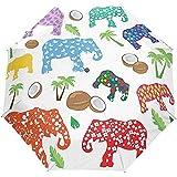 Paraguas Abierto Automático Cerrar Elefantes Coloridos Árboles De Coco Tropicales De Verano Paraguas Plegables Compactos A Prueba De Viento