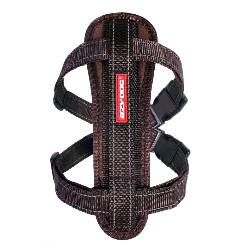 EzyDog Premium Chest Plate Custom Fit Reflective No-Pull Padded Comfort Dog Harness - Perfect for Training, Walking, and Control - Includes Car Restraint Attachment (Small, Chocolate)