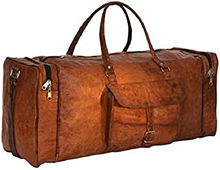 TUZECH Pure Leather Bag Modern Square 22 Inches Ultra Light Duffel Bag Leather
