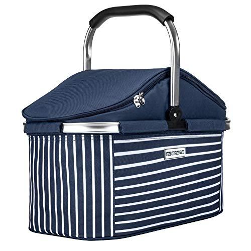 anndora Einkaufskorb 25 L Isolierkorb Picknick Kühlkorb - blau weiß gestreift