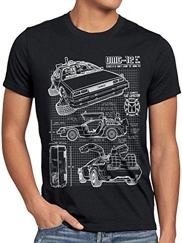 style3 DMC-12 Blaupause T-Shirt Herren Zeitreise 80er McFly Blueprint Auto Car, Größe:XL, Farbe:Schwarz