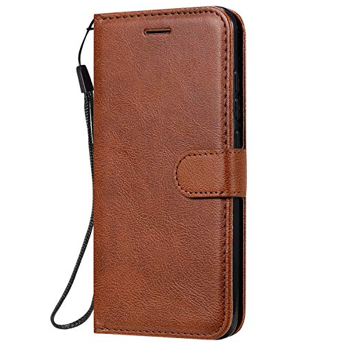 Fatcatparadise Cover Compatibile Nokia 7.1 Plus / X7 2018/8.1 [con Pellicola in Vetro Temperato], Cuoio Portafoglio Flip Case Conception Simple Wallet Case Custodia in PU Lussuosa Cover (Marrone)