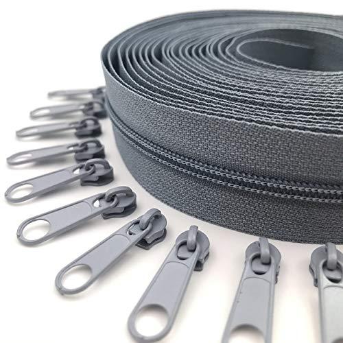 ABOO Cremalleras de nailon de 5 metros con 10 deslizadores de cremallera para bolsos y otros proyectos de costura.