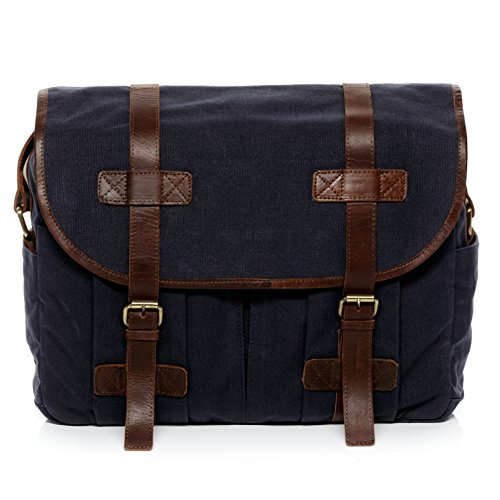 SID & VAIN Messenger Bag Canvas & Leder Chase groß Laptoptasche Umhängetasche Laptopfach 15.6