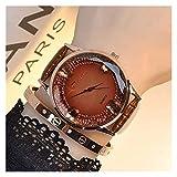 WYHM Reloj para Mujer Mujer Reloj de Cuarzo de Oro del Cuero Genuino de la Mariposa del Brillo Taladro Dial Colegiala Joven Mujeres Moda Ocio Relojes de Cuarzo Preciso (Color : Brown)