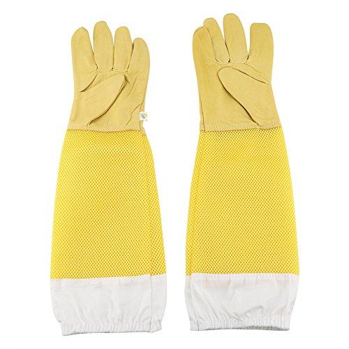 guanti apicoltura Zerodis Guanti di alta qualità in pelle di capra grande resistente Un paio di guanti protettivi in pelle di pecora con manica a maglia lunga Principianti apicoltori Strumento di lavoro Xl