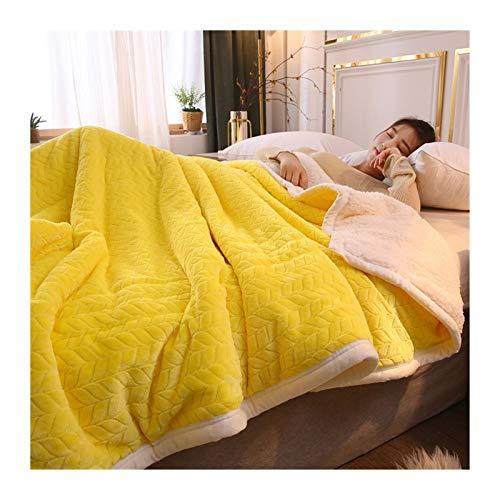 Cama Manta Hogar Super Soft Duvet Mantas Sólidas De Lujo En Ropa De Cama Con Gemelas Fleece Verde Mantas Y Lanzamientos Adulto Mantas De Invierno Cálidas Gruesas ( Color : Yellow , Size : 150x200cm )