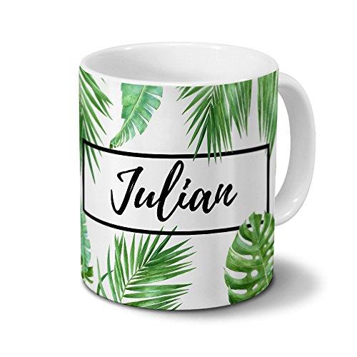 printplanet Tasse mit Namen Julian - Motiv Dschungel Floral Leaf - Namenstasse, Kaffeebecher, Mug, Becher, Kaffeetasse - Farbe Weiß