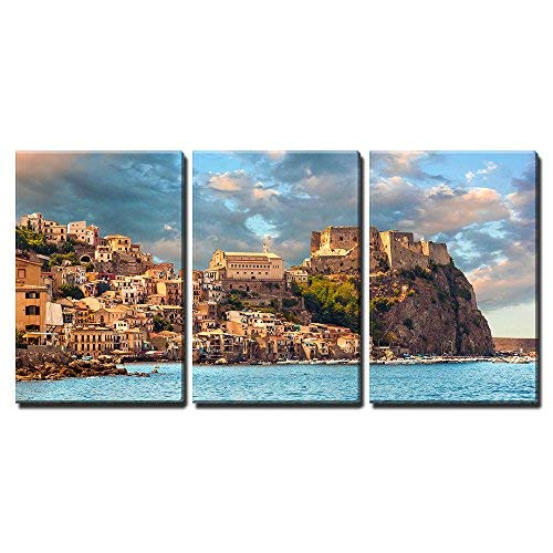 """wall26 - 3 Piece Canvas Wall Art - Scilla, Castle on The Rock in Calabria During Sunset, Italy - Modern Home Decor Stretched and Framed Ready to Hang - 16""""x24""""x3 Panels"""