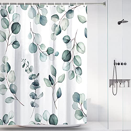 """Eucalyptus Leaves Shower Curtain for Bathroom Watercolor Plants Floral Shower Curtain Waterproof Fabric Bathroom Decor Green Lealf Shower Curtain Set with 12 Hooks and Weighted Hem (W59""""×H70"""")"""
