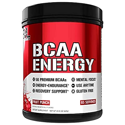 Evlution Nutrition BCAA Energy - Essential BCAA Amino Acids, Vitamin C, + Natural Energizers for Performance, Immune Support, Muscle Building, Recovery, B Vitamins, Pre Workout, 65 Serve, Fruit Punch