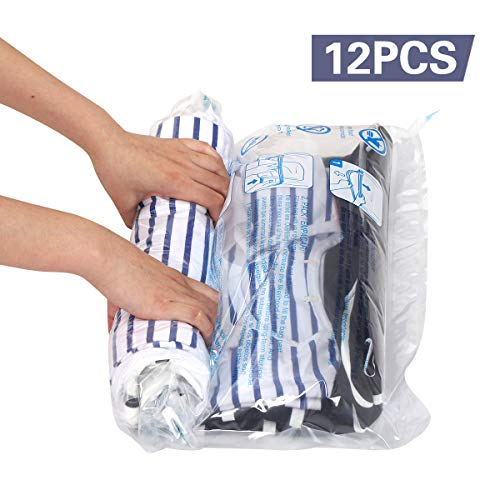 Hibag 12 Travel Compression Bags, 12-Pack Roll-Up Space Saver Storage Bags for Travel, Suitcase Size...