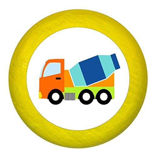 """Kommodengriff""""Betonmischer"""" gelb Holz Buche Kinder Kinderzimmer 1 Stück Fahrzeuge Transportfahrzeuge Traum Kind"""