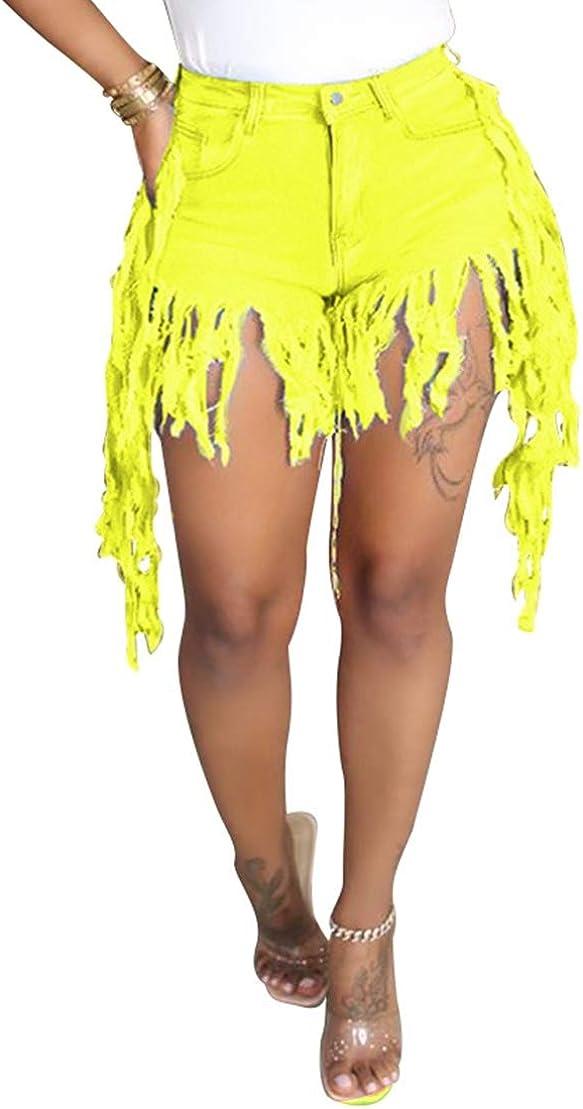 MorwenVeo Women Denim Shorts - Sexy Midrise Ripped Jean Shorts Raw Tassel Hem