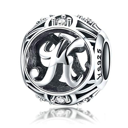 Birthday Charms Genuine 925 Sterling Silver DIY Initial A-Z Charm Alphabet Charms Letter Beads for Pandora Charms Bracelets (Letter K)