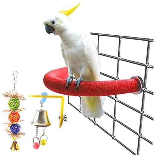 U-förmiger Vogelsitzstangenständer, Spielzeug, Papageien-Sitzstangen aus Holz, für Papageien, bunte Sandpfoten, Schleifstab, Käfigzubehör für Nymphensittiche, Sittiche, mit 2 Kauspielzeugen für Vögel