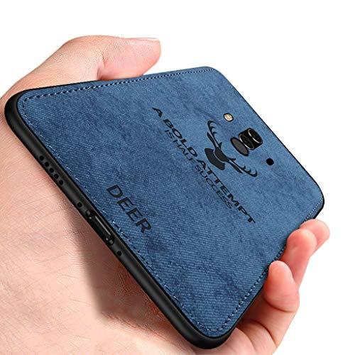 Yoota Cover Huawei Mate 10 PRO, Cover Stoffa Testa Cervo + Custodia Bordo Morbida TPU Paraurti Antiurto Anti-Scivolo Caso per Huawei Mate 10 PRO - Blu