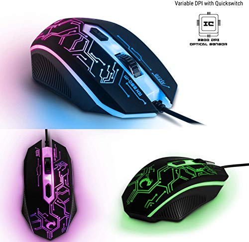 Gaming Keyboard and Mouse and Mouse pad and Gaming Headset, Wired LED RGB Backlight Bundle for PC Gamers and Xbox and PS4 Users - 4 in 1 Edition Hornet RX-250