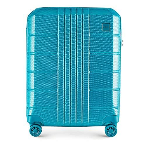 WITTCHEN Koffer – Handgepäck   hartschalen, Material: polycarbonat   hochwertiger und Stabiler   Türkis   36 L   55x20x40 cm