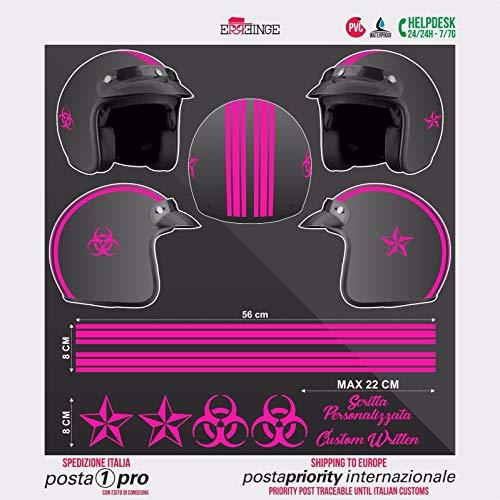 SUPERSTICKI Juego de pegatinas para casco de carreras, color rosa Biohazard, para moto, bicicleta, coche, carreras, tuning, de alto rendimiento