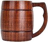 BERTY·PUYI Taza de Madera Taza de Cerveza de Madera Taza para Beber Hecha a Mano Taza de café con asa Adecuada para Restaurante Familiar
