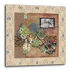 3dRose Image of Vintage Bluebirds, Wagon Wheel, Flowers, Clock. - Wall Clocks (DPP_336143_3)