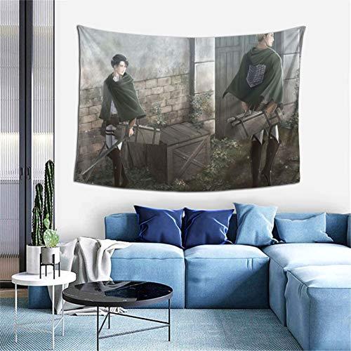 At-ta-ck O-n T-itan E-rwin L-evi Tapisserie Anime Wandbehang Kunst Hintergründe für Schlafzimmer Wohnzimmer Sofa Zimmer Geschenk Poster Wohnheim Ästhetische Dekoration 152,4 x 101,6 cm