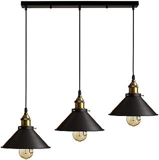 Moderne 3 Luminaires Suspension Vintage Industrielle E27, Métal Lustre Abat-jour plafonnier Eclairage Decoratif (Noir)