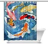 Quafoo Orientalische asiatische Tinte Koi Goldfisch Malerei Home Decor wasserdichte Polyester Stoff Duschvorhang Badezimmer-Sets mit Haken, 60 (breit) x 72 (Höhe) Zoll, Design # 5,60x72 Zoll