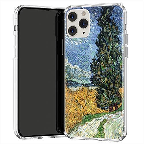 Lex Altern TPU Custodia per Apple iPhone 12 Pro SE 11 Xs Max Xr 8 7 Plus 6 + Campo grano con cipressi Leggero Case Vincent van Gogh Copertina Arteistico Trasparente Morbida Uomo uk1455