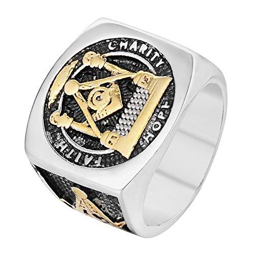 DFWY Men's Freemasonry Stainless Steel Signet Ring,Stainless Steel Eye of Providence Masonic Band Ring,Illuminati Symbols Vintage Punk Rock Style Biker Jewelry (Color : Gold, Size : 08)