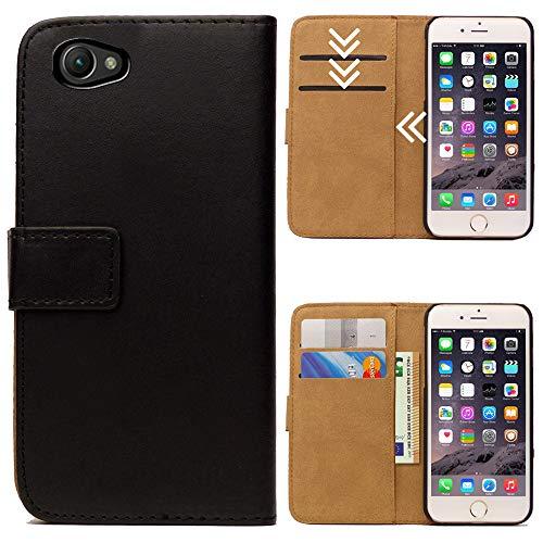 Roar Handytasche für Sony Xperia Z1 Compact, Flipcase Tasche Schutzhülle Handyhülle für Sony Xperia Z1 Compact Bookcase Wallet mit Magnet, Schwarz