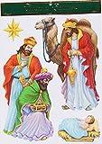 Christmas Elegance Wise Men and Jesus Glittery Window Clings - 11 x 15