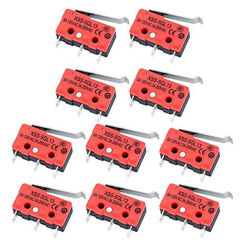 Wandefol 10pcs Micro Interruptor de Límite Palanca, Interruptor Sensible 3 Pin, Interruptor de Palanca de Bisagra para Maquina Equipo Electrónico Acción Instantánea 5A/125VAC 3A/250VAC Metal