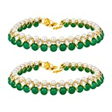 Aheli Indian Wedding Set of 2 Anklet Payal Faux Stone Studded Charm Ankle Bracelet Ethnic Fashion Barefoot Beach Jewelry for Women