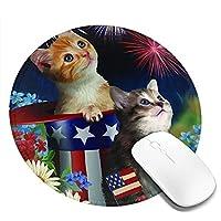 愛国的な子猫 マウスパッド 丸型 20cm 滑り止め 防水 おしゃれ 洗える ビジネス用 家庭用 ゲーム用